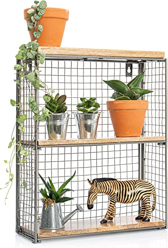 3 Tier Floating Rectangular Wood Wire Shelves, Metal Mesh Wooden Wall Decoration for Bathroom, Living Room Bedroom, Mounted Display Shelf for Plants Planters, Rustic Farmhouse Shelving Decor