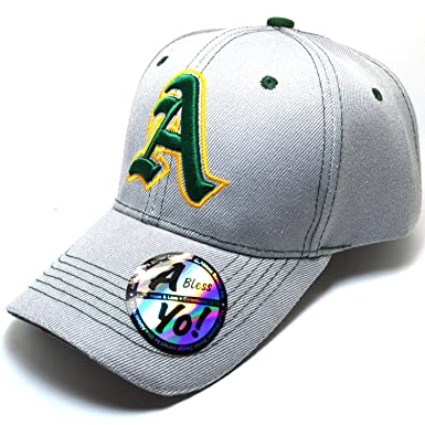 Alphabet A Old English Embroidered Curved Visor Cap Golf Athletics Hat  AYO1162 (Grey Green b32c6856eb4