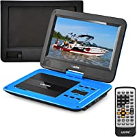 """UEME 10.1"""" Portable DVD Player CD Player with Car Headrest Mount Holder, Swivel Screen Remote Control Rechargeable Battery AC Adapter Car Charger, Personal DVD Player PD-1020 (Blue)"""