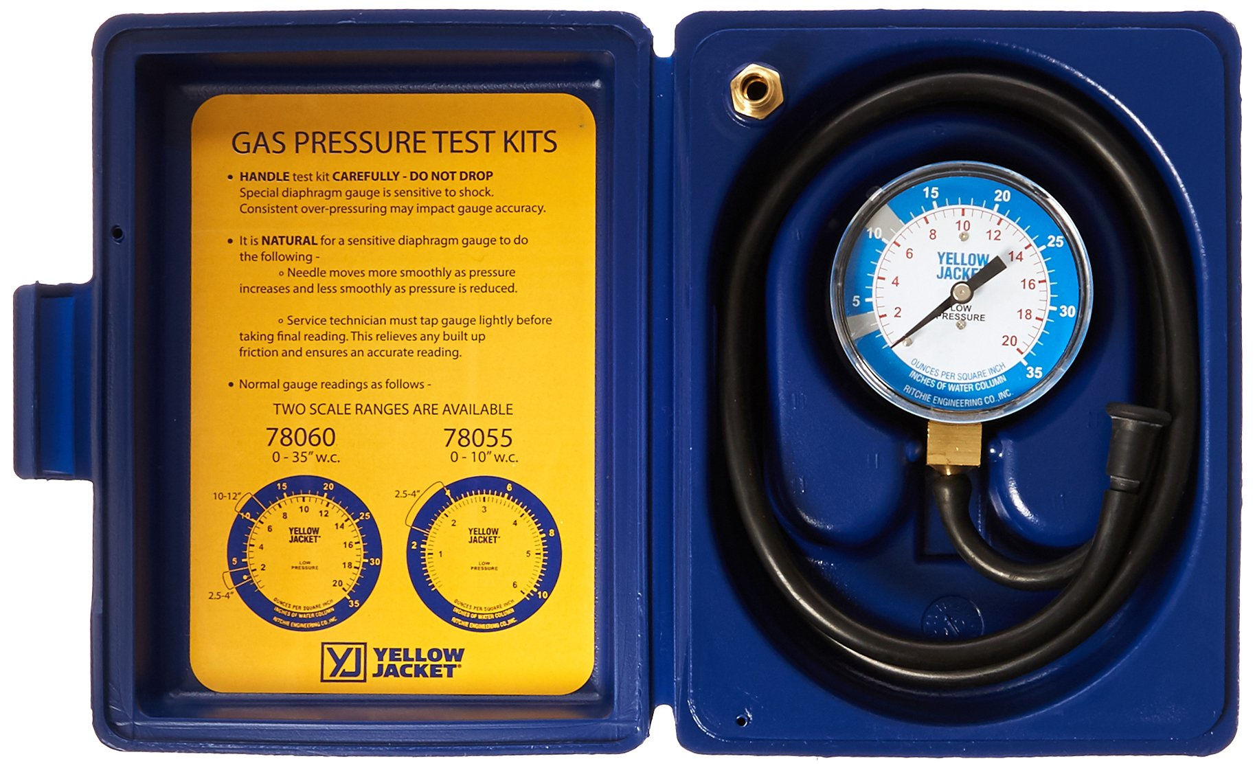 Yellow Jacket 78060 Complete Test Kit, 0-35'' W.C