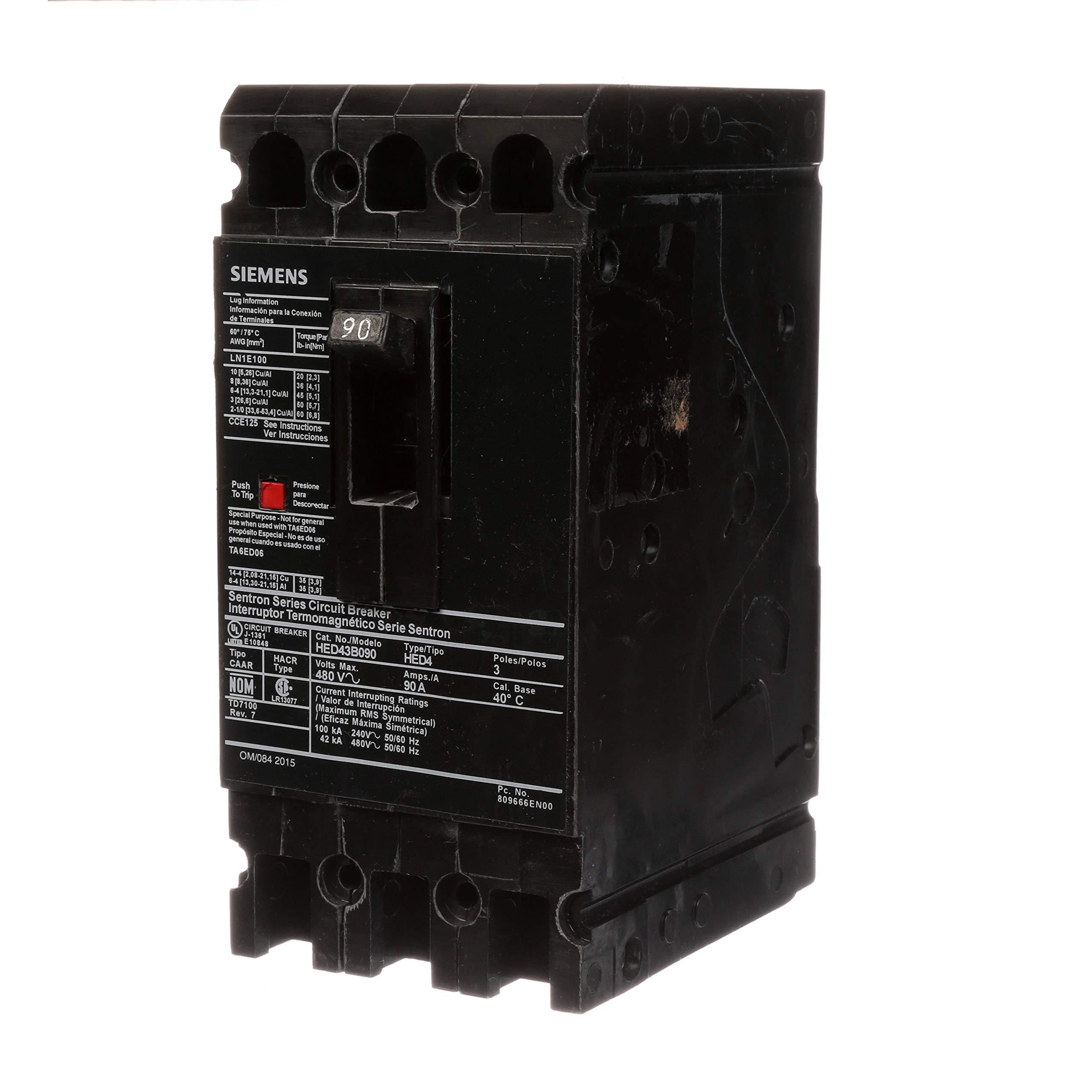 Siemens HED43B090 Circuit Breaker, Type HED4, 90 Amp, 3 Pole