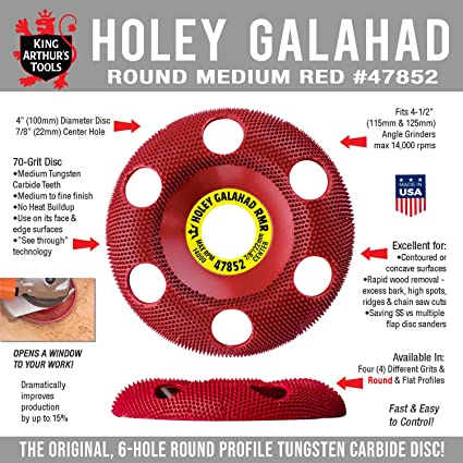 King Arthur S Tools Original Patented Round Medium Red Holey Galahad Tungsten Carbide Disc Fits Most Woodworking Angle Grinders 47852 Rmr Abrasive Wheels Amazon Com