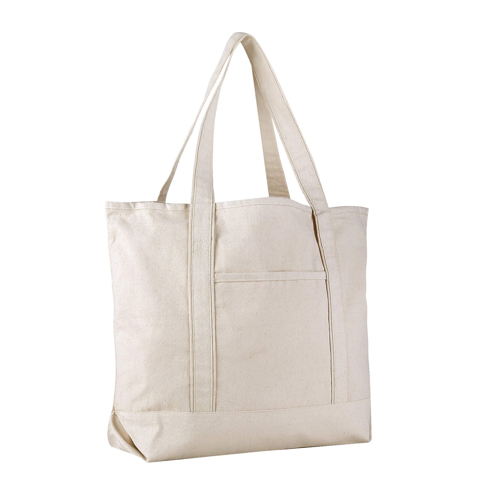 BagzDepot Boat Canvas Tote Bag - 22'' Extra Large Heavy Duty and Reusable Carry Beach Bags with Handles (1 Pack, Natural)