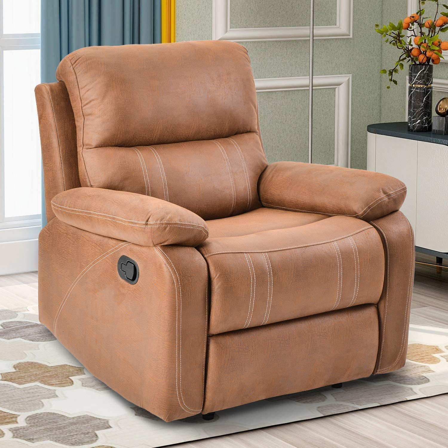 Recliner Chairs Living Room Chair Reclining Sofa Overstuffed Heavy Duty  Recliner for Living Room - Home Theater Seating Faux Suede Leather
