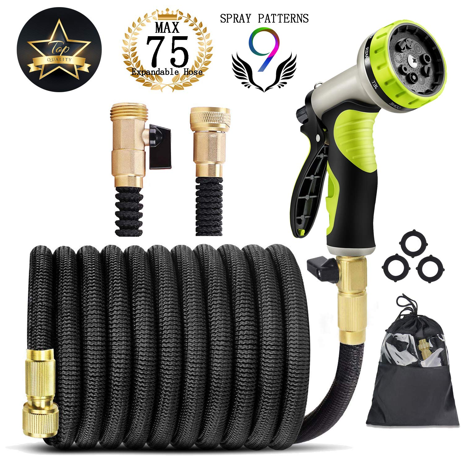 "Garden Hose Expandable Garden Hose 75 ft Garden Hose with Triple Layer Latex Core, 3/4"" Solid Brass Fittings, 3750D Extra Strength Fabric 9 Function Spray Nozzle for All Your Watering Need"