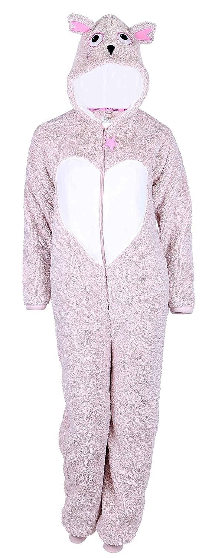Ladies Fleece All In One Pyjamas Jump Sleep Suit Onesie Nightwear Owl