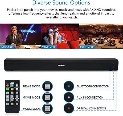 40W Bluetooth 5.0 TV Sound Bar with Built-in Dual Subwoofer AKIXNO Soundbar 2.0 HDMI//Optical//AUX//USB//TF Card//DC in//LINE in Adjustable Equalizer Mode Home Theater Speakers for TV PC SR250 32 INCH