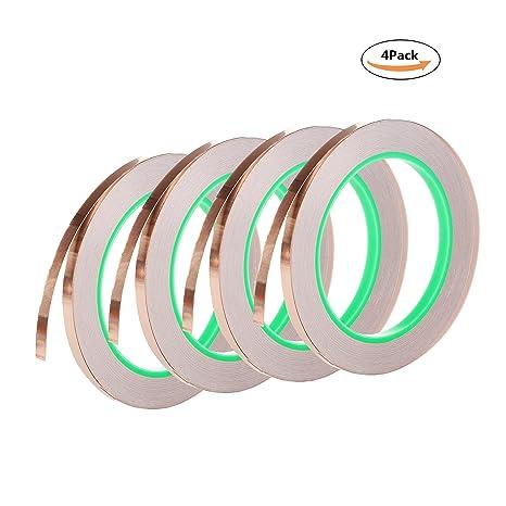 Copper Foil Tape conductiva con adhesivo extra ancho 1/4 pulgadas, 22) EMI