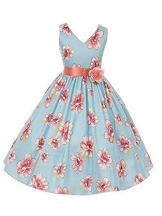 fb6695defd7 Kiki Kids Little Girls Blue Contrast Floral Print V-Neck Taffeta Flower  Girl Dress 2