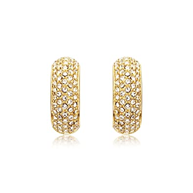 MYJS Stone Palace Gold Plated Swarovski Crystals Pave Hoop Earrings ... 2b7931bc71