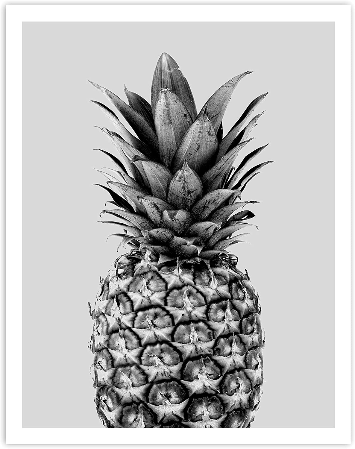 Printsmo, Black and White Pineapple, Tropical Fruit, Minimalist Modern Art Print Poster, Contemporary Wall Art for Home Decor 11x14 inches, Unframed