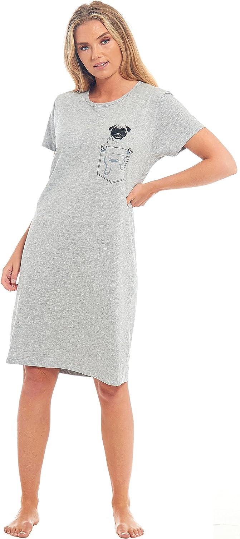 Slumber Hut Ladies 100/% Jersey Cotton Pug Dog Pocket Soft Plain Womens Nightie Nightdress Low Cut Neck Knee Length Marl Grey Size UK 8 10 12 14 16 18 20 22