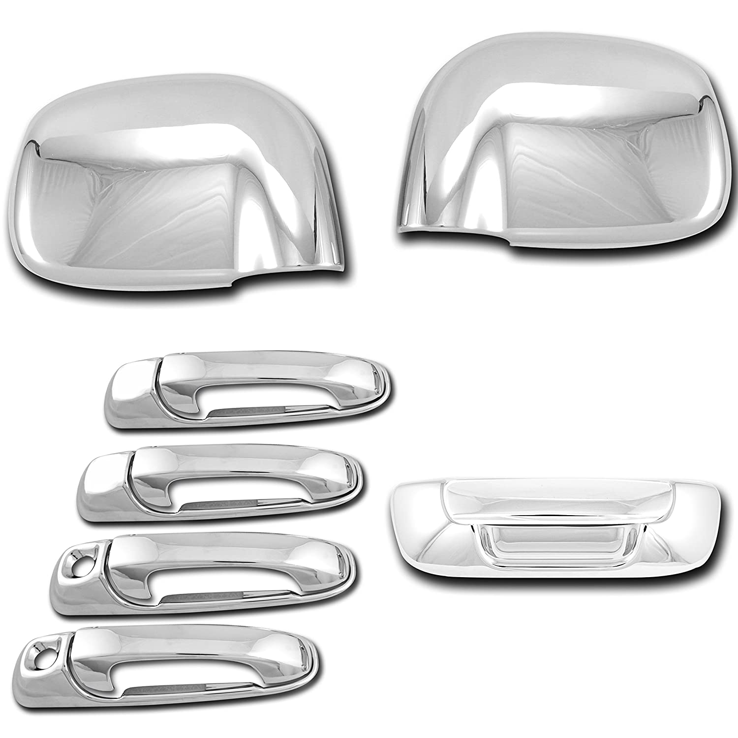 FOR DODGE RAM 1500 02-08 CHROME MIRROR DOOR HANDLE /& TAILGATE COVER W//O KEYHOLE