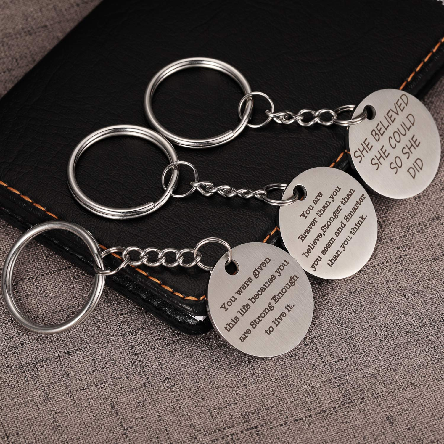 She believe she could You are given this life because stronger you seem and smarter than you think Motivational Inspirational Gifts For Women Keychain You are braver than you believe so she did