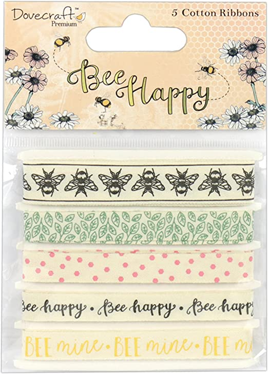 Bee Happy Clear Stamps Dovecraft Set of 5 Nature//Spring