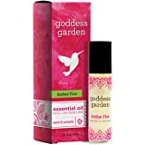 Goddess Garden Amber Fire Essential Oil Roll-On Perfume for Sensitive Skin, 0.33 fl oz, no Synthetics, Contains Organic Oils,