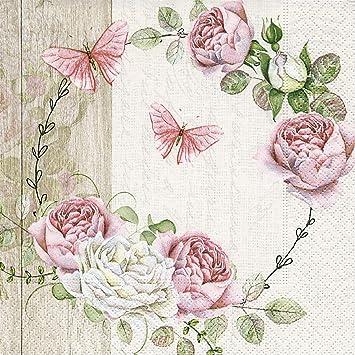 5 Servietten ROSEN viele rosarot Serviettentechnik roses fabric Stoff napkins