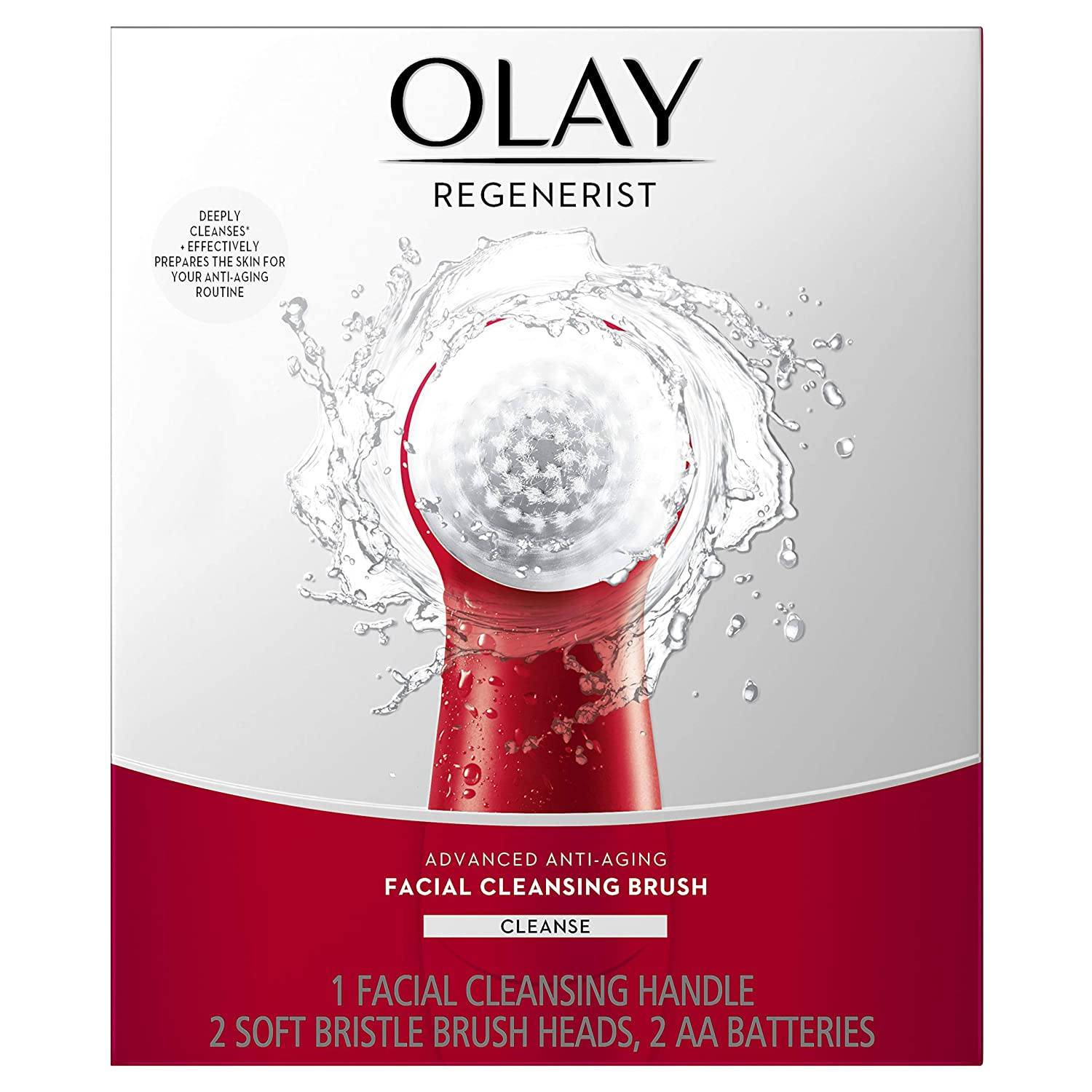 Facial Cleansing Brush by Olay Regenerist, Face Exfoliator with 2 Brush Heads best face cleansing brush