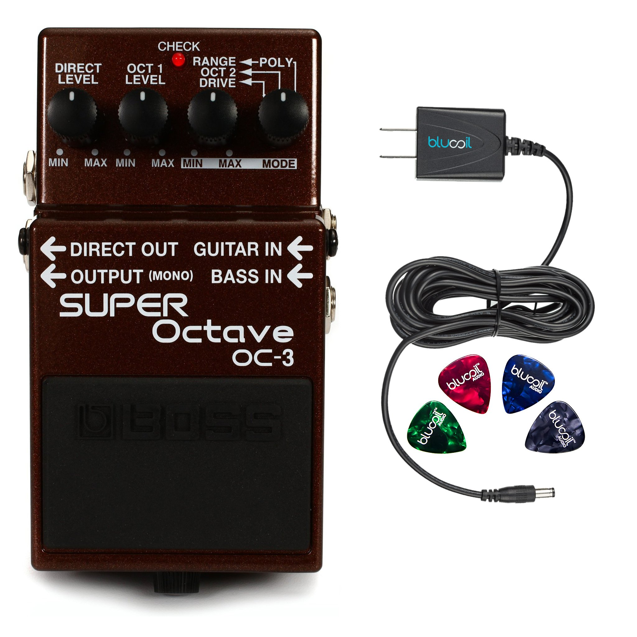 BOSS OC-3 Super Octave Pedal for Guitar or Bass -INCLUDES- Blucoil Power Supply Slim AC/DC Adapter for 9 Volt DC 670mA AND Blucoil Guitar Pick V2
