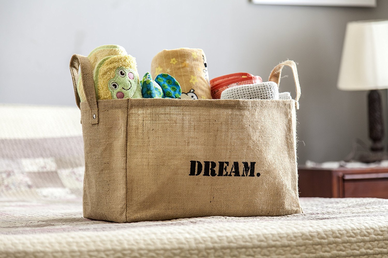 Jute Storage Baskets Kids Storage containers Baby Closet Organizer Toy Storage Bins Cube Storage Box Smile