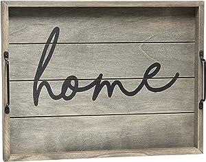 Elegant Designs HG2000-RGH Wood w-Handles Decorative Serving Tray, 15.5