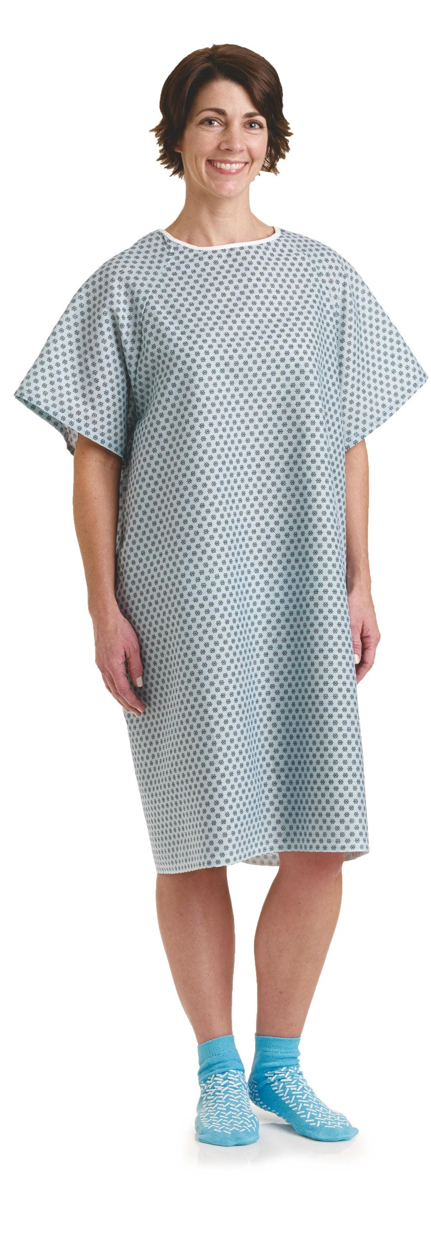 BHmedwear Traditional Patient Unisex Hospital Gown 3 PACK (Star Blue)