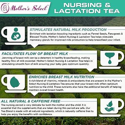 Té para la lactancia y la crianza de Mothers Select para aumentar la producción de leche materna, totalmente natural, té de ayuda a la crianza sin cafeína, ...