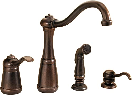 Pfister LG26-4NUU Marielle 1-Handle Kitchen Faucet with Side Spray Soap Dispenser in Rustic Bronze, Water-Efficient Model
