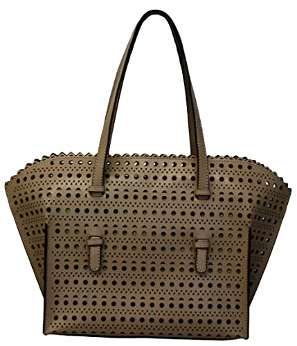 673f24a4af1f5 Perano 139550 Women s Ladies Bag schopper Shoulder Bag Handbag Leather Hole  Pattern Taupe.