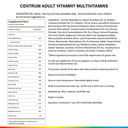 Amazon.com: Centrum Adult VitaMints (120 Count, Raspberry Flavor) Multivitamin / Multimineral Supplement Chewable, B Vitamins, Antioxidants: Health ...