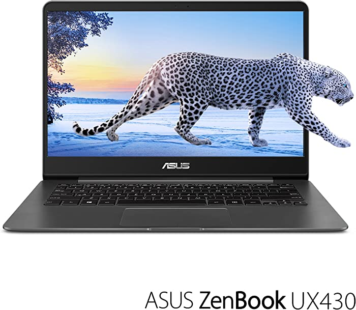 "ASUS ZenBook 14 Thin and Light Laptop - 14"" Full HD WideView, 8th gen Core i7-8550U Processor, 16GB DDR3, 512GB SSD, Backlit KB, Fingerprint Reader, Grey, Windows 10 Home - UX430UA-DH74"