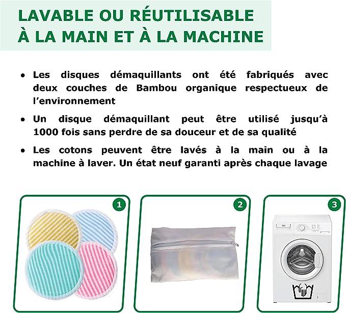 1 Sac /à Linge Lot de 20 /Écologique et environmental Lingette Demaquillante Bio Zero Dechet KafooStore Coton Demaquillant Lavable et R/éutilisable en Bambou Tampons D/émaquillants Bio Doux