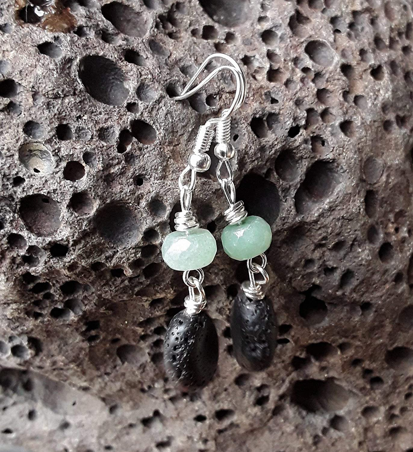 Aventurine and Lava Stone Essential Oil Diffuser Dangle Drop Earrings Silver