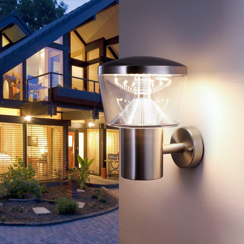 NBHANYUAN Lighting/® Aussenleuchte Au/ßenlampe LED Aussenwandleuchten f/ür Balkon Silber Edelstahl 3000K Warmwei/ß Licht 9W 1000LM 220-240V Stil 19