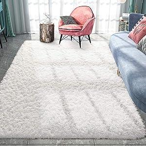 Pacapet Fluffy Area Rugs, Cream Shag Rug for Bedroom, Plush Furry Rugs for Living Room, Fuzzy Carpet for Kid's Room, Nursery, Home Decor, 5 x 8 Feet
