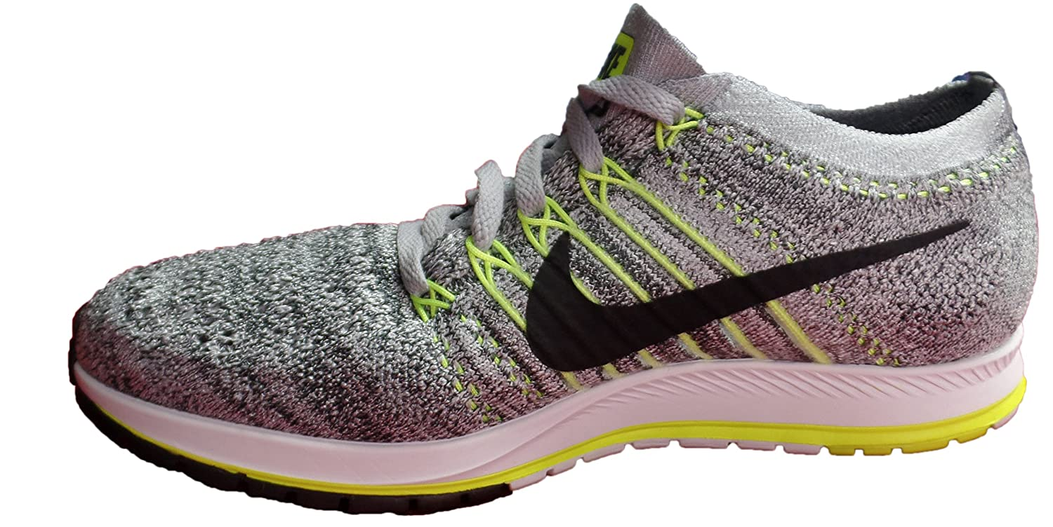NIKE Unisex Flyknit Racer Running Shoe B071G243JC Mens 4.5/ Wmns 6|Grey/ Volt/ Black/ White