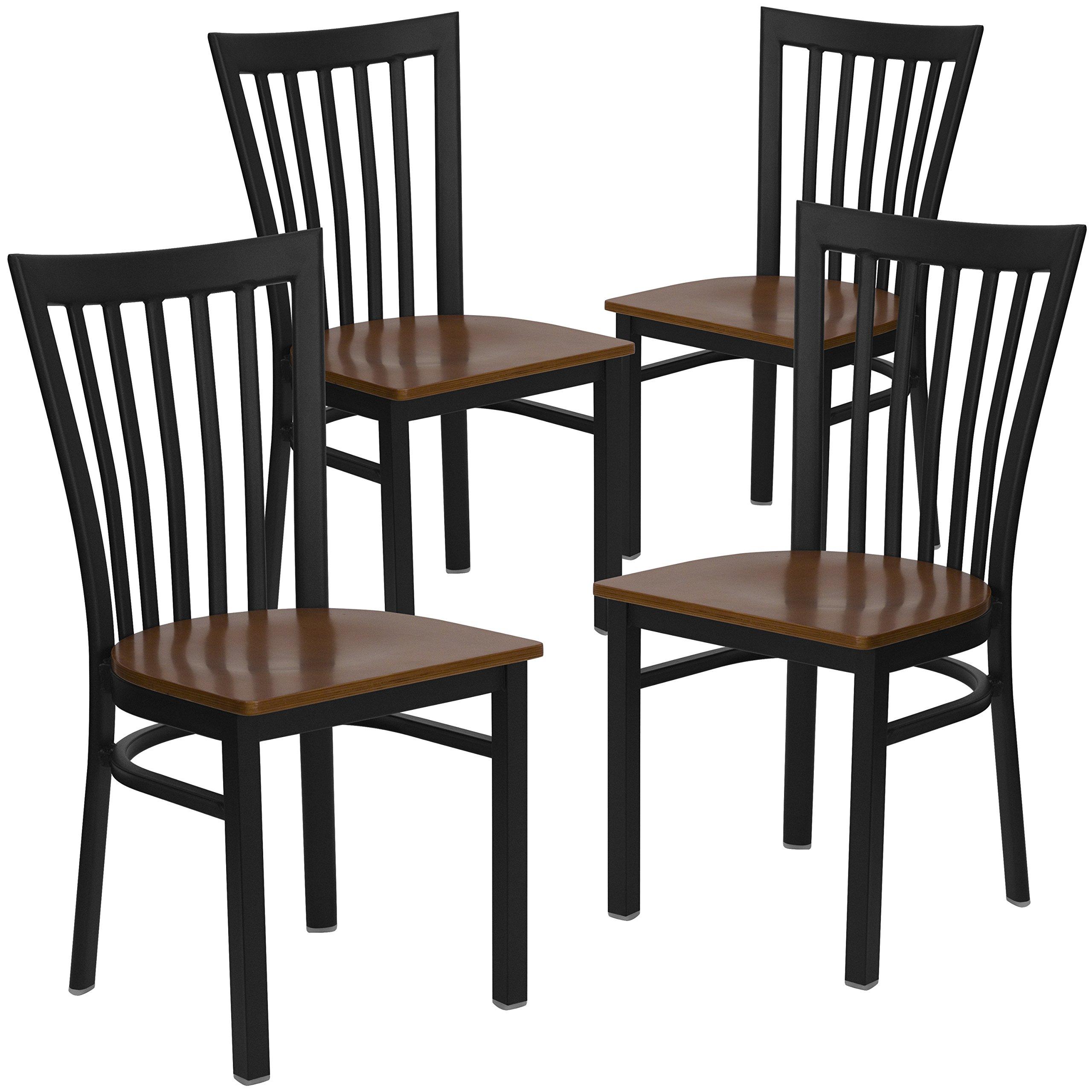 Flash Furniture 4 Pk. HERCULES Series Black School House Back Metal Restaurant Chair - Cherry Wood Seat