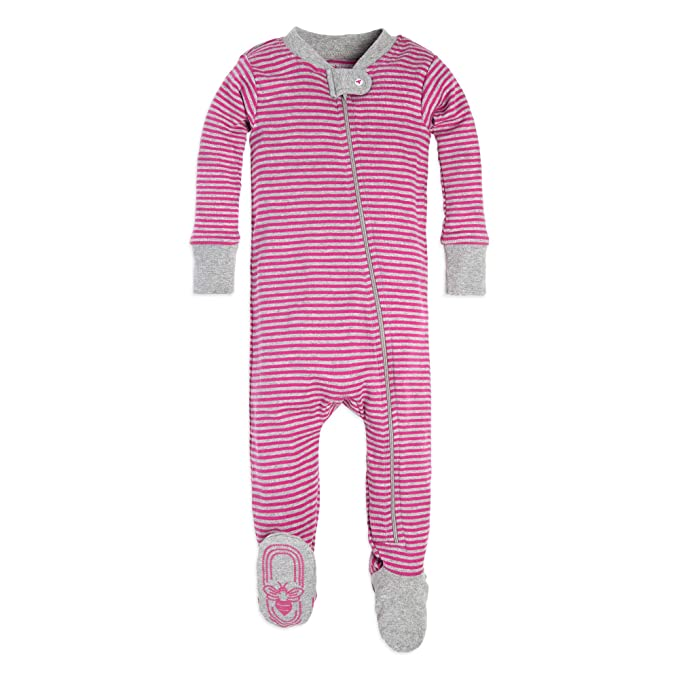 aef9637978 Burt s Bees Baby Baby Girls  Organic Stripe Zip Front Non-Slip Footed  Sleeper Pajamas