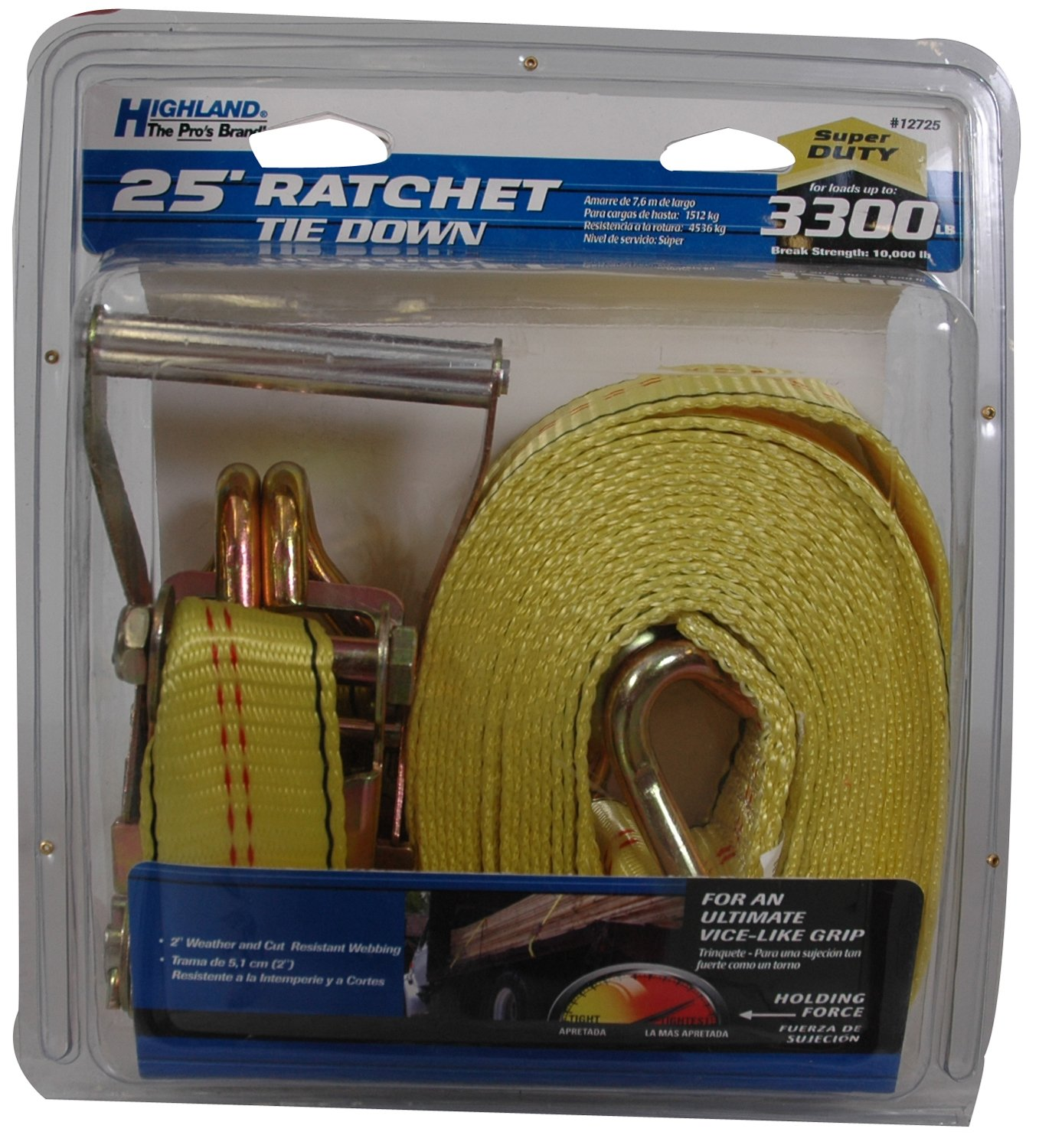 1272500 1 piece Highland 25 Yellow Super Duty Ratchet Tie Down with Double J-Hooks