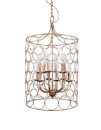 Creative Co-op Metal Chandelier with Circle Designs 12 Lights, 23 Round by 38 Height, Gold
