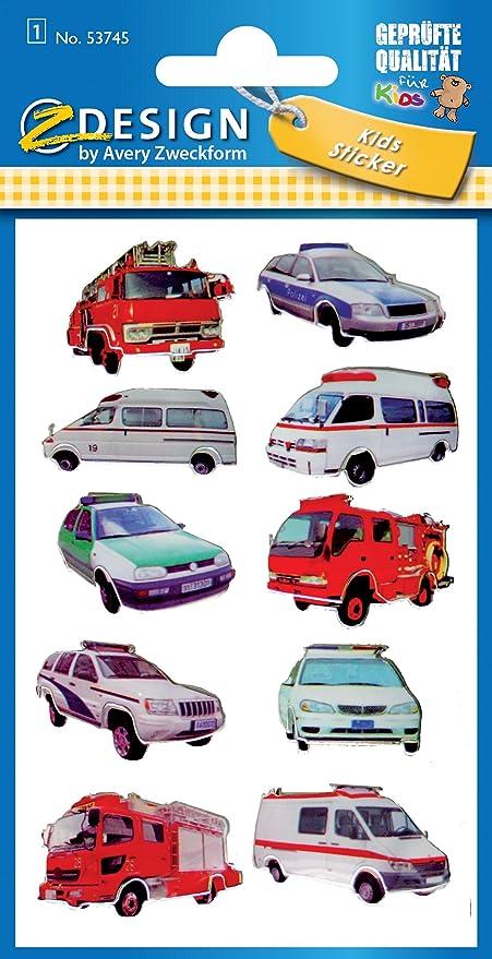 Avery Zweckform 53745 - Pegatinas para niños, modelo con policía, efecto 3D, 10 pegatinas: Amazon.es: Oficina y papelería