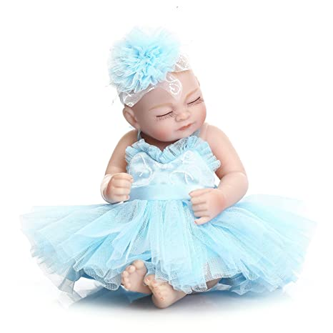 Lilith Waterproof 10 Inch 26cm Miniature Silicone Hard Vinyl Full Body Baby  Girl Reborn Doll Realistic Looking Newborn Baby Dolls Kids Xmas Gift (Blue