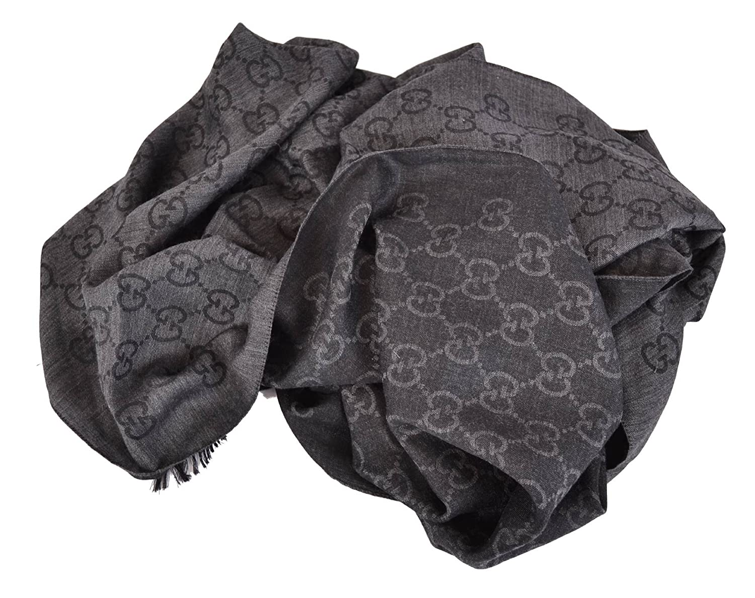 Gucci 165903 Women's Wool Silk GG Guccissima Scarf XL Charcoal ...