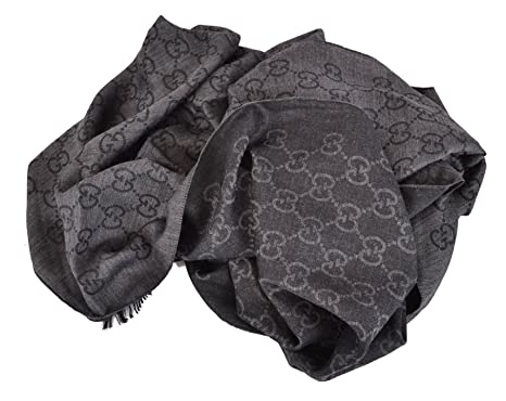 cddb33445a7 Gucci 165903 Women s Wool Silk GG Guccissima Scarf XL Charcoal Grey ...
