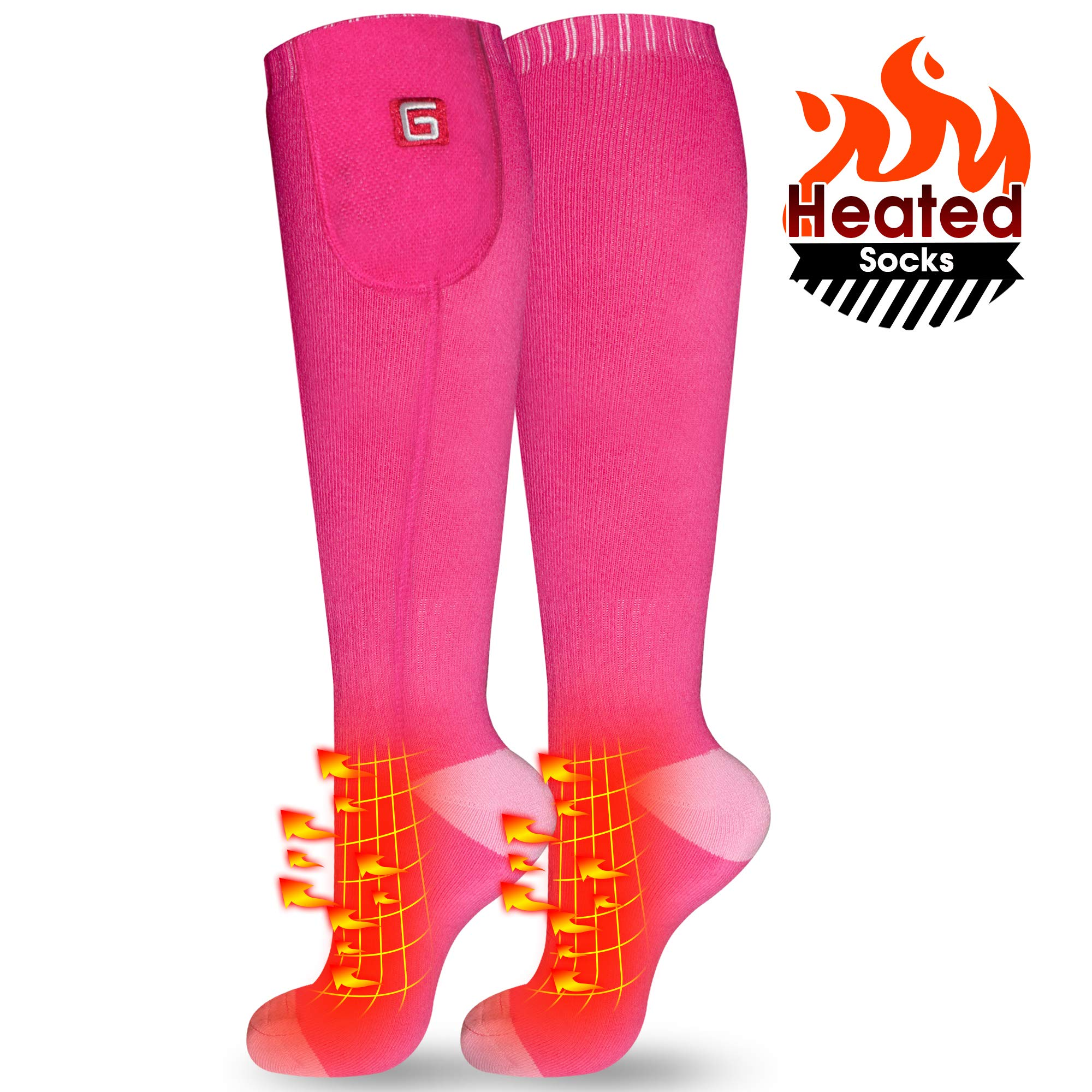 IFWATER Electric Heated Socks for Women Men, Rechargeable Electric Socks Battery Heated Socks Foot Warmer for Chronically Cold Foot, Great for Skiing Hiking Motorcycling Warm Winter Socks(Pink-M) by IFWATER
