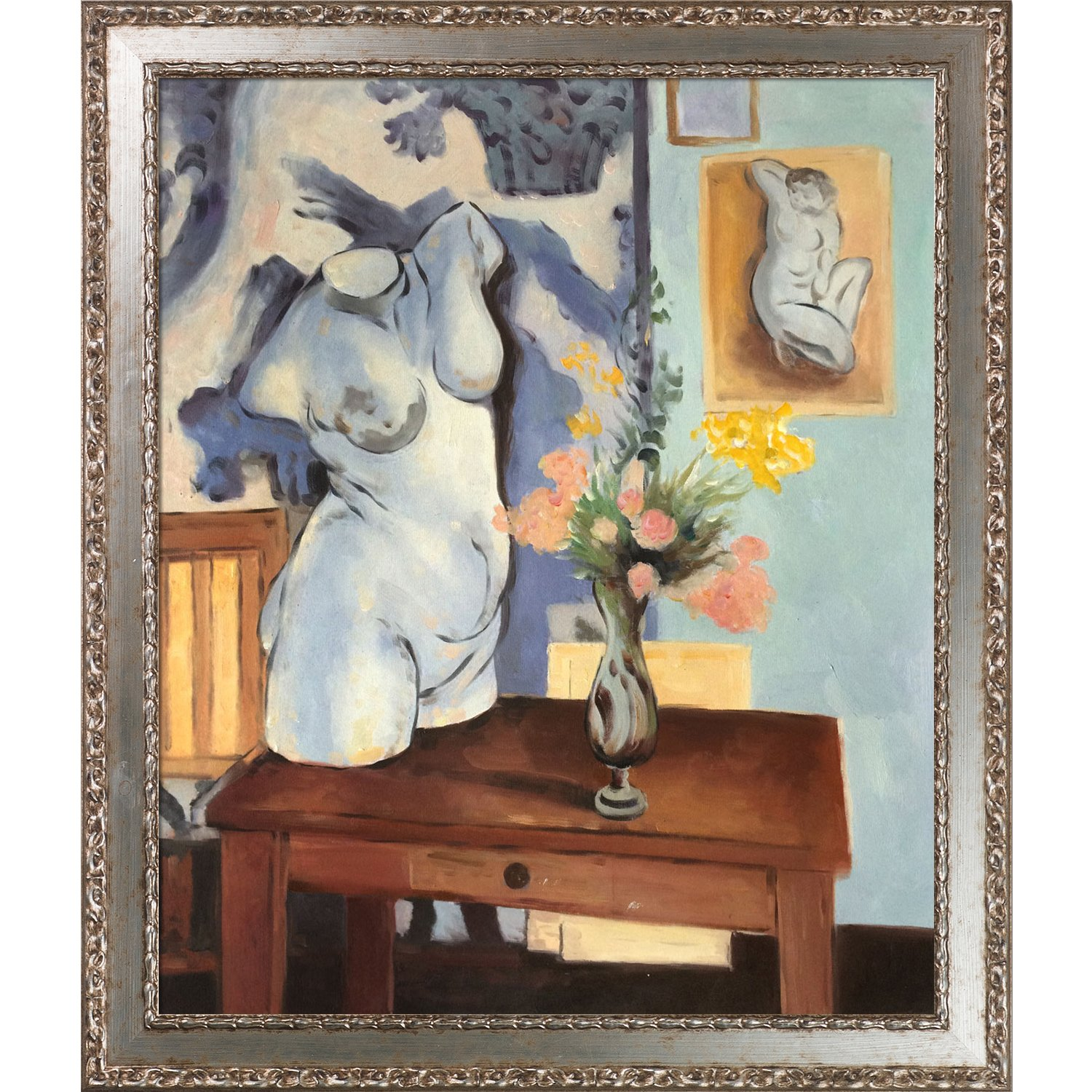 overstockArt Hand Painted Oil on Canvas Greek Torso with Flowers by Henri Matisse Framed MT3282-FR-51322520X24