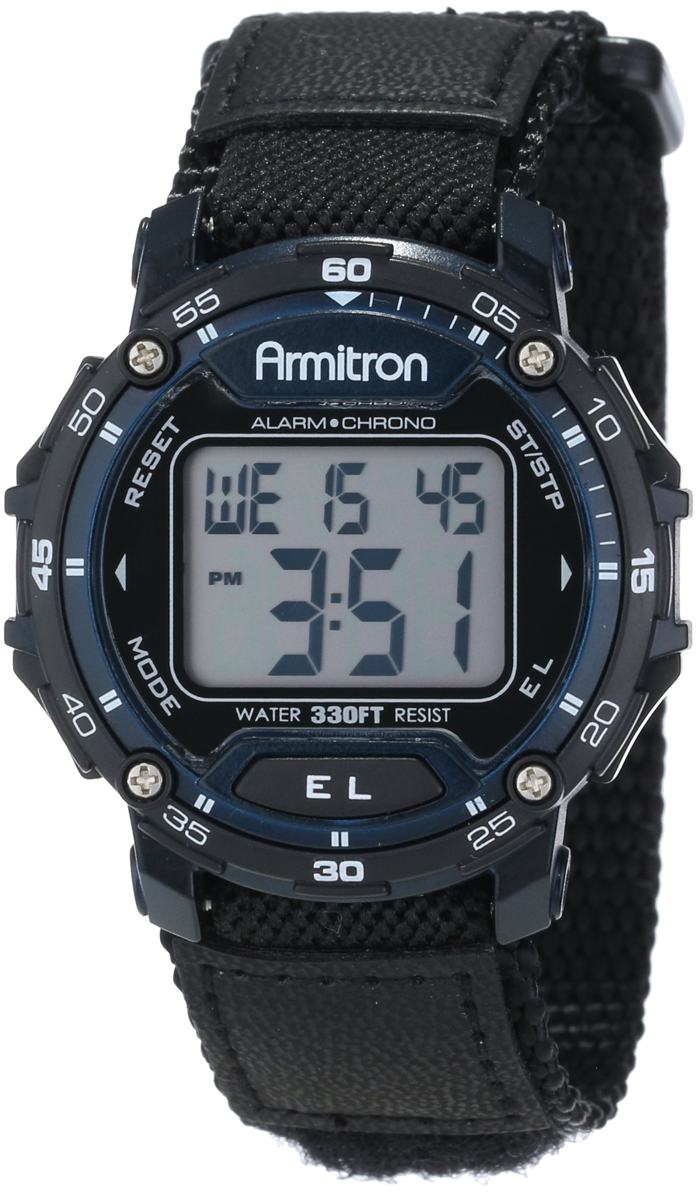 Armitron Sport Unisex 40/8291BLU Navy Blue Accented Digital Chronograph Black Nylon Strap Watch