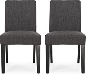 Christopher Knight Home Kuna Contemporary Upholstered Dining Chair (Set of 2), Charcoal + Gray