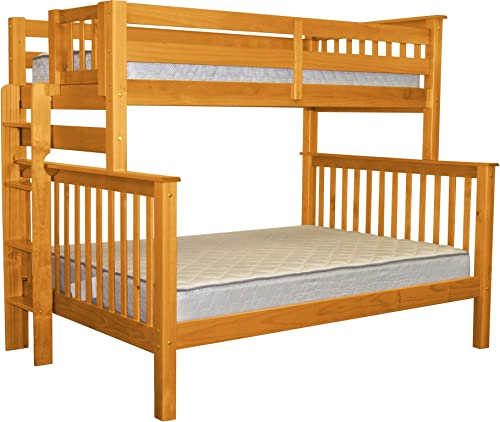 Bedz King Bunk Beds Twin over Full Mission Style with End Ladder, Honey
