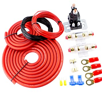 amazon com amplifier wiring kit gauge amp car audio type w fusesamplifier wiring kit gauge amp car audio type w fuses subwoofers speakers amp dual auxiliary battery